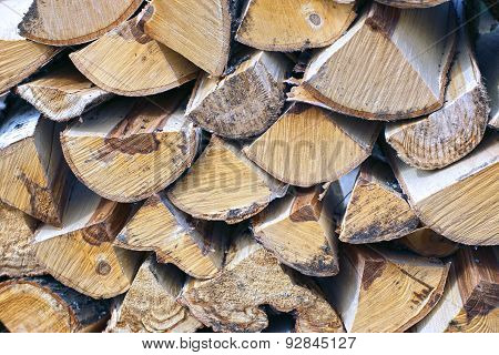Stabel Of Chopped Birch Wood