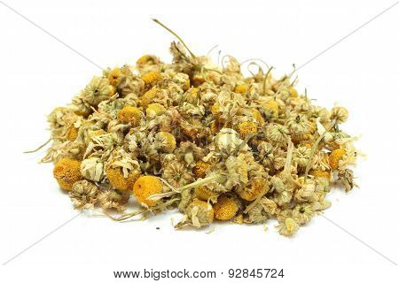Heap Of Dried Camomile On White Background