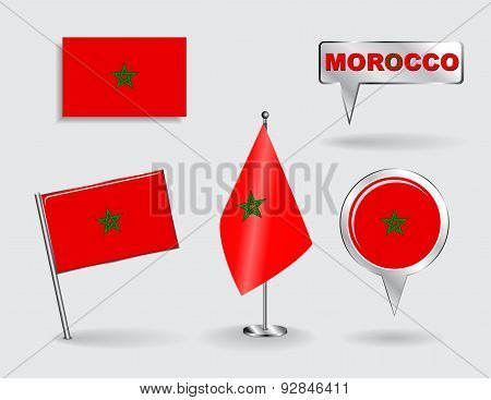 Set of Moroccan pin, icon and map pointer flags. Vector