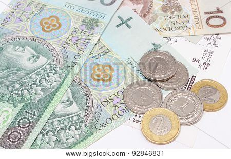 Money And Coins With Receipt On White Background
