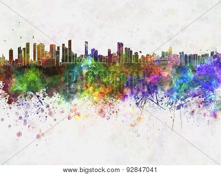 Belem Skyline In Watercolor Background