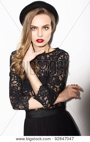 Vogue. Classy Fashion Model In Dark Lacy Blouse