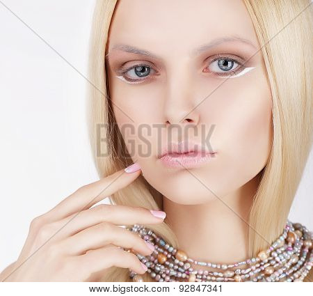 Sophisticated Lovely Blonde Touching Her Face