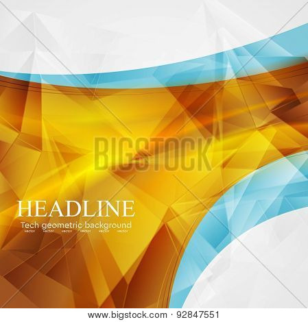 Polygonal abstract tech background with bright waves. Vector art design