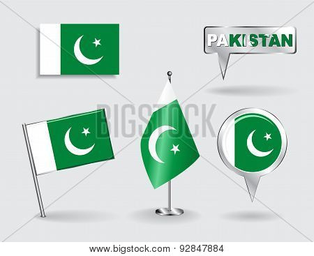 Set of Pakistani pin, icon and map pointer flags. Vector