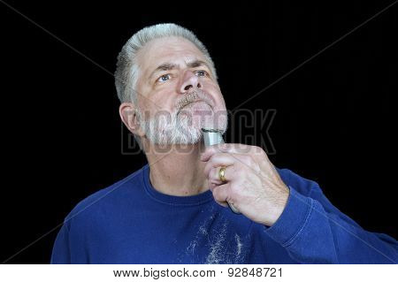 Mature Man Shaves Off Beard
