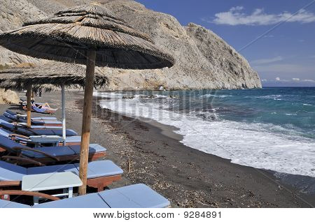 Perissa Black Sand Beach