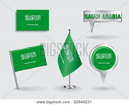 Set of Saudi Arabian pin, icon and map pointer flags. Vector