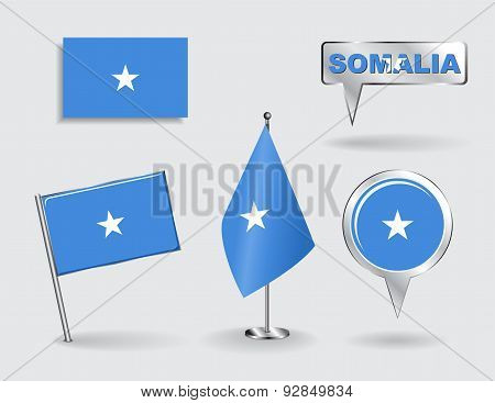 Set of Somalian pin, icon and map pointer flags. Vector