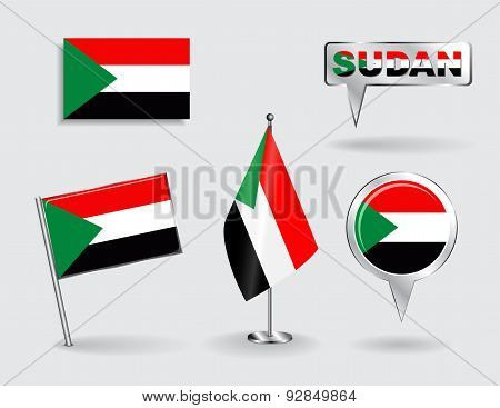 Set of Sudanese pin, icon and map pointer flags. Vector