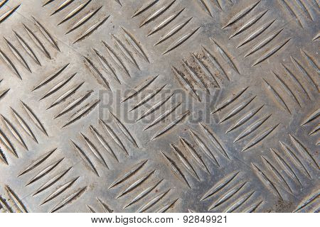 Metal with printed pattern of lines and ridges and some dirt background or texture