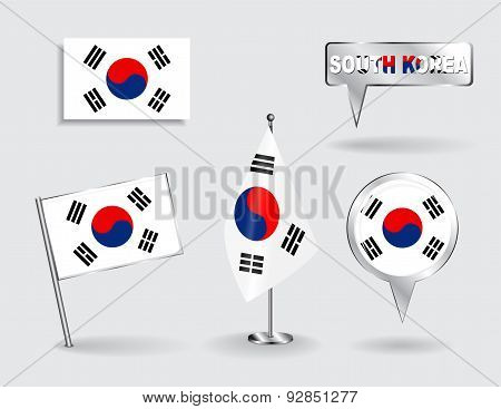 Set of South Korean pin, icon and map pointer flags. Vector