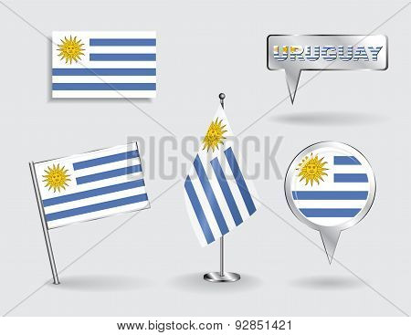 Set of Uruguayan pin, icon and map pointer flags. Vector