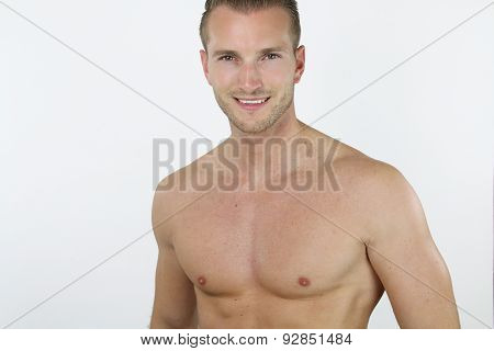 young bare chested man