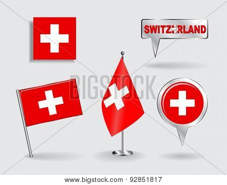Set of Swiss pin, icon and map pointer flags. Vector