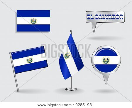Set of El Salvador pin, icon and map pointer flags. Vector