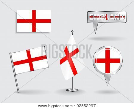 Set of English pin, icon and map pointer flags. Vector