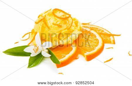 Ice Cream With Orange Flover And Zest