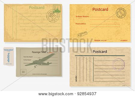 Set Of Old Post Envelopes And Tickets.