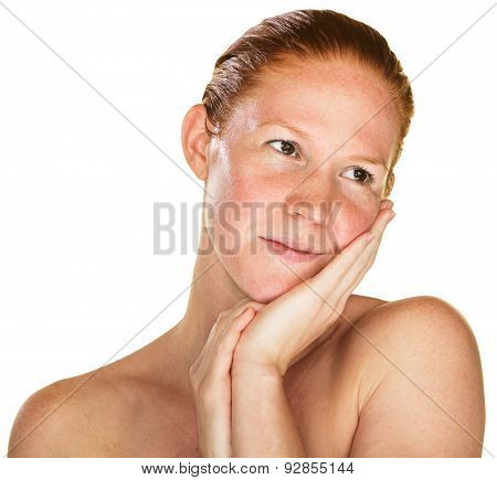 Daydreaming Woman With Bare Shoulders