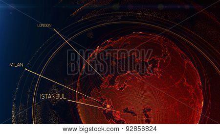 Technological Digital Hologram Globe World