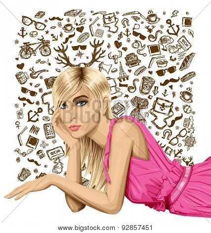 Vector fashion blonde in pink dress lies on a floor