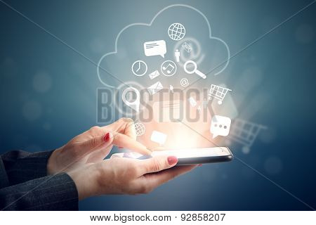 woman uploading her data at clouds storage