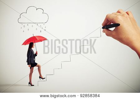 smiley businesswoman with red umbrella under drawing cloud with drops following up stairs which drawing big boss
