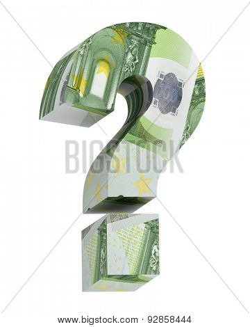Question mark from euro bill alphabet set isolated over white. Computer generated 3D photo rendering.