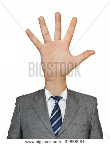 Hand for head isolated on white background