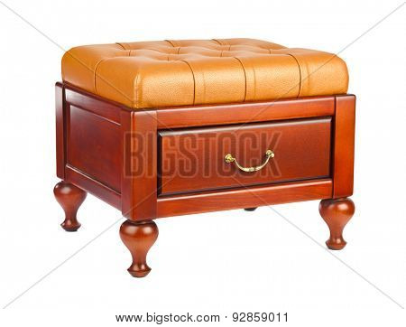 Luxury leather pouf isolated on white background