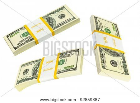 Money packs set isolated on white background