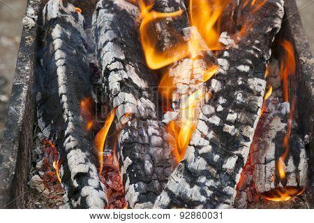 the burning firewood