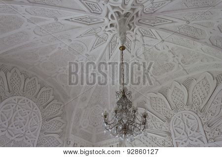 Ceiling and chandelier detail in a White Room
