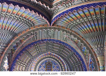 Ceiling In The Peacock Room Of Sammezzano Castle