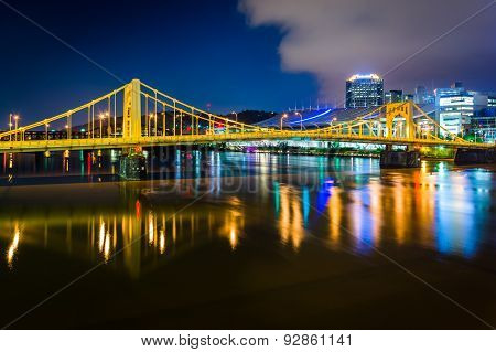 The Andy Warhol Bridge Over The Allegheny River At Night, In Pittsburgh, Pennsylvania.