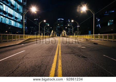 The Rachel Carson Bridge At Night, In Pittsburgh, Pennsylvania.