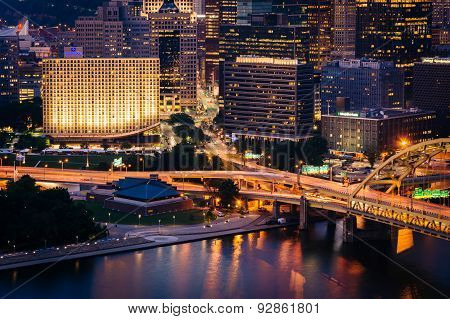 View Of Buildings In Downtown Pittsburgh From The Top Of The Duquesne Incline In Mount Washington, P