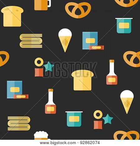 Seamless background on gluten products theme with flat objects: bread, pastry, pasta, beer, yogurt,