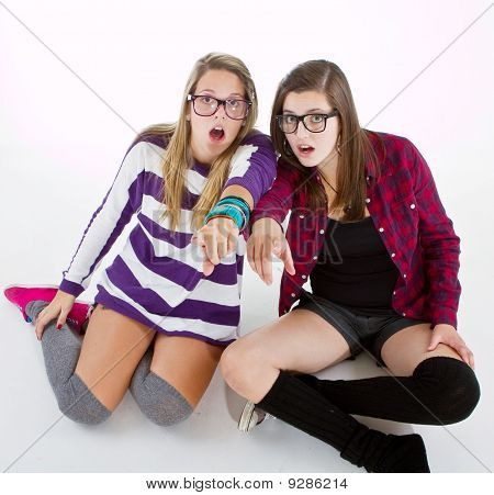 Stylish teenage girls