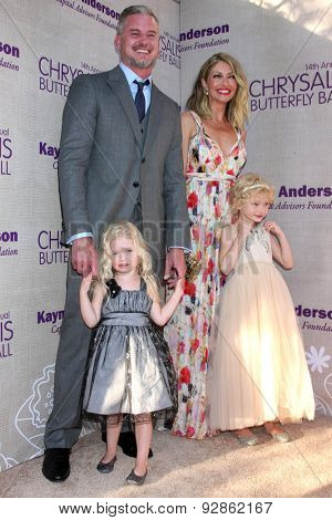 LOS ANGELES - JUN 6:  Eric Dane, Rebecca Gayheart, Georgia and Billie Dane at the 14th Annual Chrysalis Butterfly Ball at the Private Residence on June 6, 2015 in Los Angeles, CA