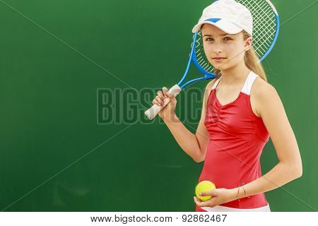 Tennis - beautiful young girl tennis player