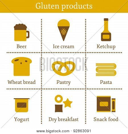 Set of icons with allergic gluten products: bread, pastry, pasta, beer, yogurt, ice cream, dry break