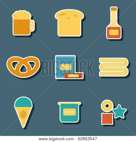 Set of flat colorful stickers with allergic gluten products: bread, pastry, pasta, beer, yogurt, ice