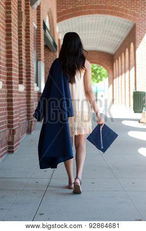 High School Graduate Girl Walking