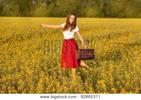Girl Runs Across The Field.