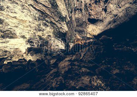 picturesque volcanic Cueva de los Verdes Cave inside,  Lanzarote, Canary Islands, Spain