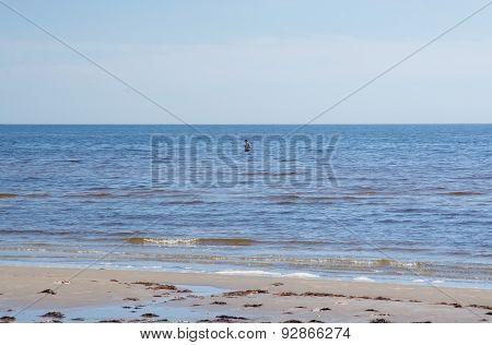 Man in cold ocean water