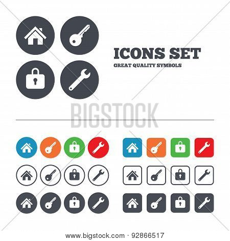 Home key icon. Wrench service tool symbol.