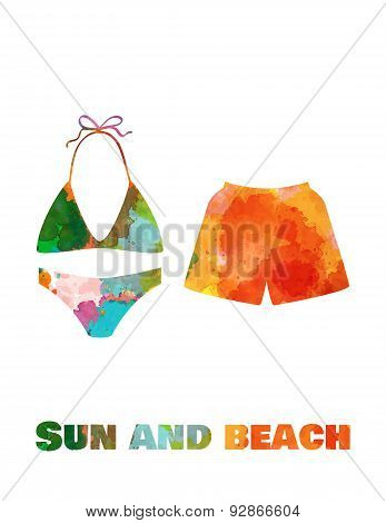 Hand drawn card background with tourism objects: swimwear.